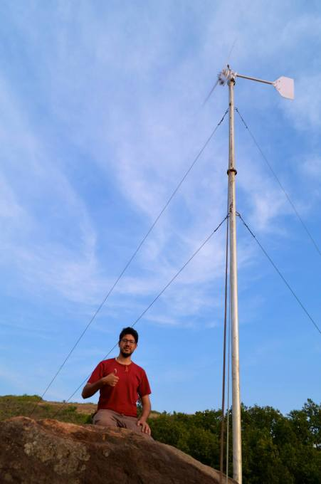 Kimon and the small wind turbine in Kalahandi