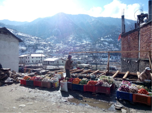 Jumla market during the winter with imported fruits and vegetables